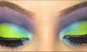 Tutorial: Electric Blue and Green Cut Crease