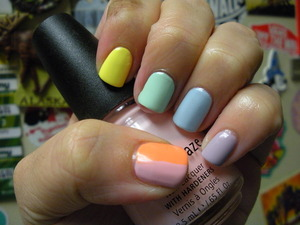 China Glaze GoGo Pink, Peachy Keen, Lemon Fizz, Re-fresh Mint, Moody Blue,and Essie St Lucia Lilac