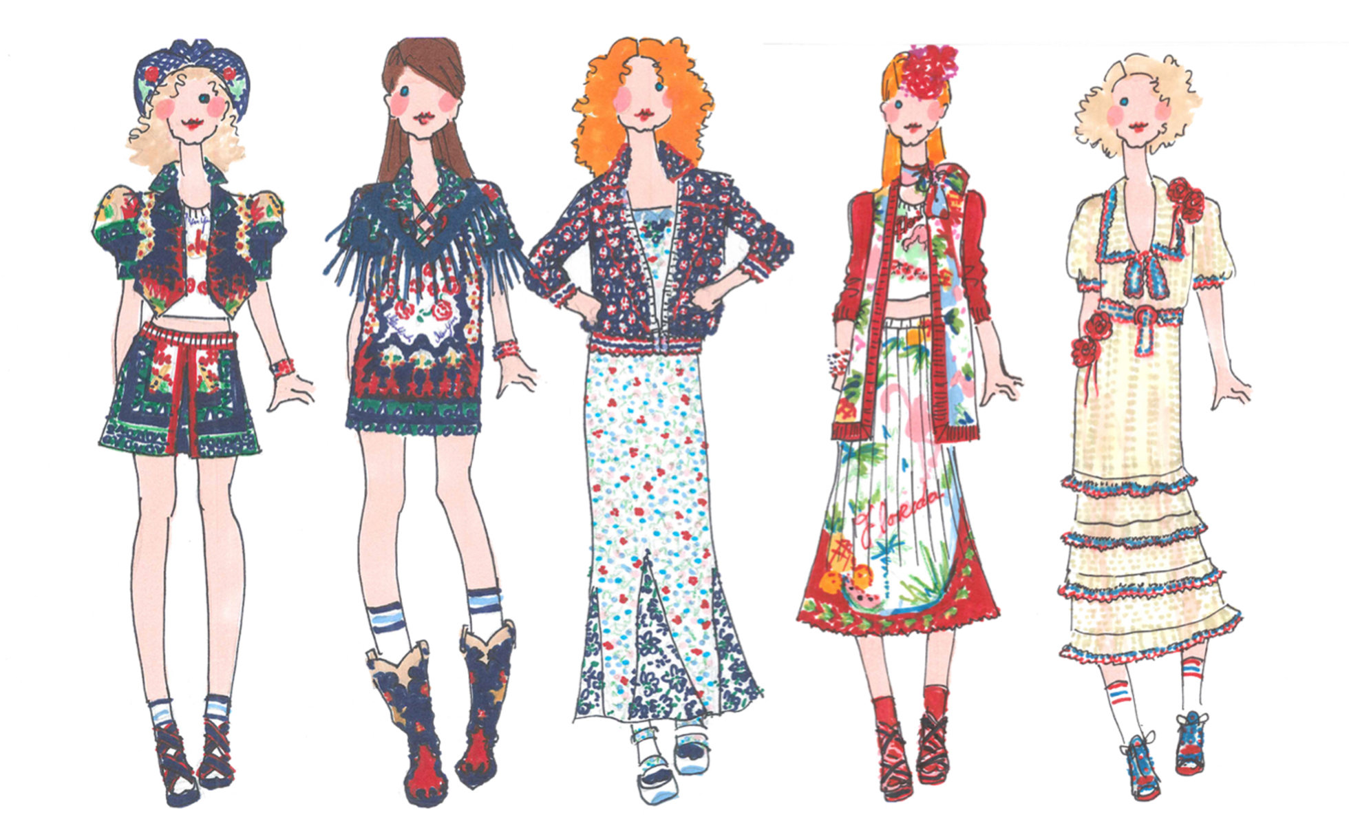 Sketches from Anna Sui Spring 2017 Collection | Image courtesy of Anna Sui