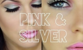 ♡ Party Makeup! ♡  Glam Pink and Metallic Silver Eyes ♡
