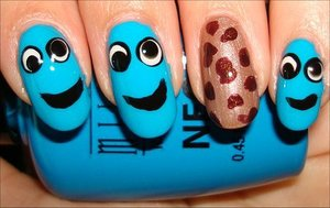Nail tutorial & more photos here: http://www.swatchandlearn.com/nail-art-tutorial-cookie-monster-nails/