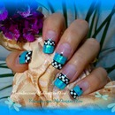 Checkered Blue Glitter French Tutorial