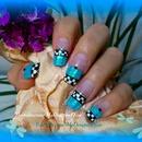 Checkered Blue Glitter French Tutorial
