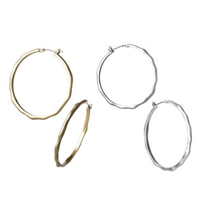 """mark Looped In Earrings Fall for THIS look!  $24.00  Irregular edges give these hoops a cool, organic feel. Set of two pairs: one burnished goldtone pair, one burnished silvertone pair. 2"""" D."""