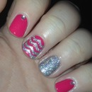 Pink and sliver chevron nails