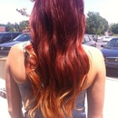 Red to strawberry blonde ombré long