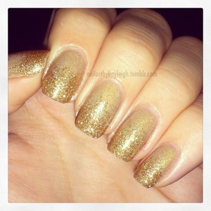 China Glaze Fast Track and Milani One Coat Glitter in Gold Glitz, total match made in heaven, they look like they were made to go together!