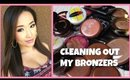 CLEANING OUT MY BRONZERS - THE BEST + WORST - Organizing My Makeup Collection Part 2 - hollyannaeree