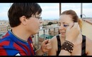 Adrian does my makeup (Makeup for Barcelona football team fans)