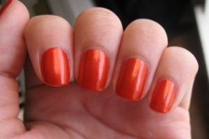 Used Wet n Wild Craze Nail Color in Inferno.