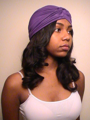 Turban thing with pin curled extensions