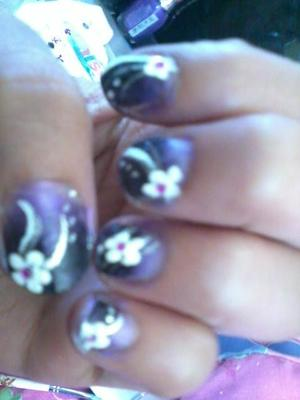 black& lilac gradient/ombre with silver line & white flowers & rhinestone