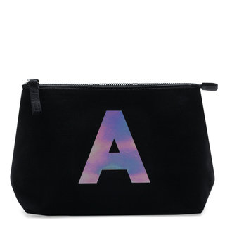 Holographic Foil Initial Makeup Bag