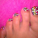 Rainbow Stripes with Black and White Leopard Print Pedi