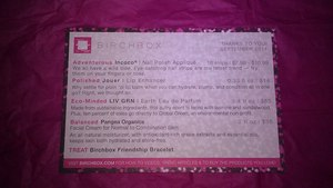 Birchbox - September 2011 List of samples in box and how much the full-size version costs