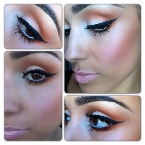I love the gold color with the white eyeshadow, pink blush, and pale pink lip.