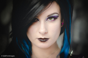The clothing worn for this shoot was quite punky, with black and dee purle colurs, so I tried to do a glam/ goth look with soft blacks with blended deep purple