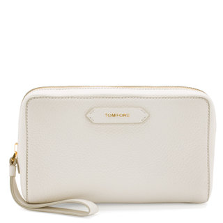 Medium Leather Cosmetic Bag White