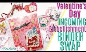 Valentines Day Binder Swap Unboxing, Valentine's Day Embellishment Ideas