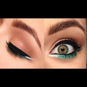 White to teal ombre w/ bold winged liner.