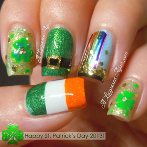 Nail art for St. Patrick's Day 2013.