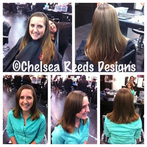 Cut her long layers into shorter and much more grown up style. Cut and Style by Chelsea Reeds