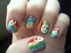 Free love? (Attempt to re-create a manicure I saw on a nail blog)