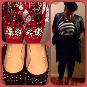 Hi-Low Dress-Dots  Black Pleather Jacket- Dots  Red Studded Pumps- Dots  Belt- Dots  Earrings- K-Mart Flats- Burlington CF