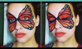 Halloween Series 2017: Monarch Butterfly Mask face paint tutorial