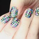 Glitter Herringbone Nails!