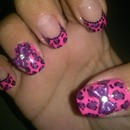 Pink N Purple Leopard Print French With 2 Accent Nails With Bows