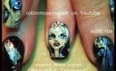 robin moses paints Angelina Wrona art on nails. gothic doll nail art tutorial design 728