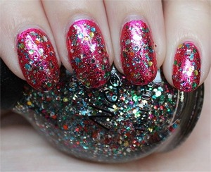 See more swatches & my review here: http://www.swatchandlearn.com/nicole-by-opi-confetti-fun-swatches-review-layered-over-nicole-by-opi-scarlett/
