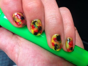 Rasta themed watercolour technique learned here: http://imabeautygeek.com/2011/10/13/painting-class-watercolour-nails-from-lucian-matis-spring-2012/  Yellow: Maybelline, Color Show, #230 Fierce N Tangy Green: Color Club,  #862 What a Shock! Red: Sally Hansen, Hard as Nails, #55 Cardinal Black: Sinful Colors, #2 Black on Black