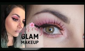Easy Glam Spring Makeup / Pink And Orange Makeup With Glitter