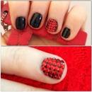 red stud & black nails