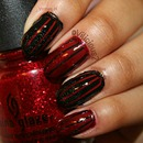 Sparkly Red & Black Stripes