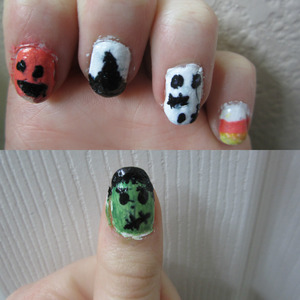 My first attempt at some hard nail art! I did Frankenstein, a pumpkin, a witch hat, Frankenweenie, and candy corn.