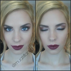 This is a look I did on set today for an editorial shoot. The lips are the main focus-agreed?! I mixed Black Cherry and Blackberry from the Bobbi Brown|Artist Palette for Lips.