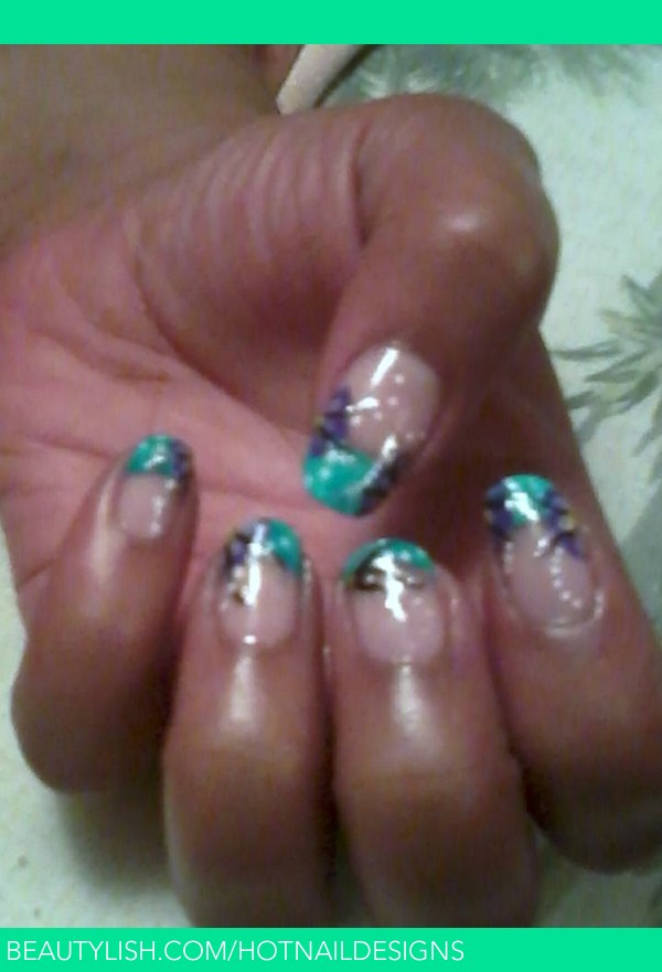 Teal with purple flowers sonja ts hotnaildesigns photo sally hansen hard as nails hard to get white undercoat acrylic paint teal purple yellow pink kiss bruch on nail art black silver glitter prinsesfo Image collections