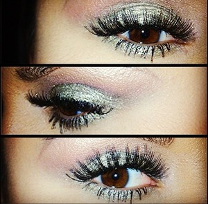 I love a light smoky eye with no liner and fierce lashes...I stacked my lashes for this look.