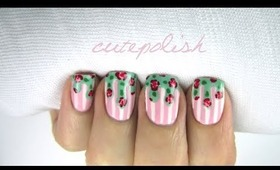 Dripping Floral Nail Art