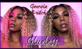 GLUELESS LACEFRONT WIG| GEORGIA PEACH HAIR| CLOCK THE LACE!