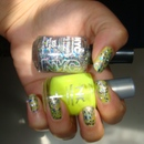 Stary Silver Glitter and Yellow Nails