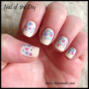 spring mani with multi colored polka dots using OPI Euro Central Collection