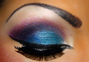 Eyebrows covered and replaced higher to create dramatic look. Inglot pigments used to get high colour pay off.