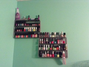 this is my nail polish rack diy: i went to bed bath and beyond got 2 organizers for forks and spoons and knives. then i just hung them up on my wall.  they work great and they are cheap