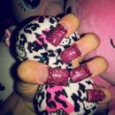 Long PINK Acrylic Nails