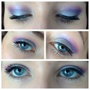 Silver, purple and pink eye look