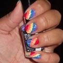 Tie-dye nails(: